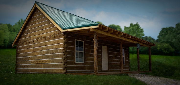 Cabin covered with concrete log siding made in corbin ky E log siding