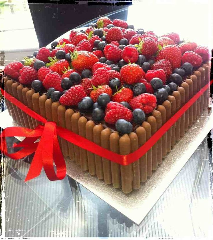 Triple chocolate fruit topped cake