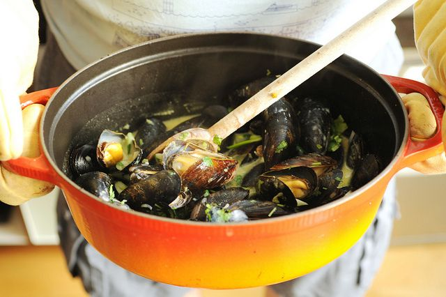 Coconut green curry mussels-I am pretty sure that my 8 year old would ...