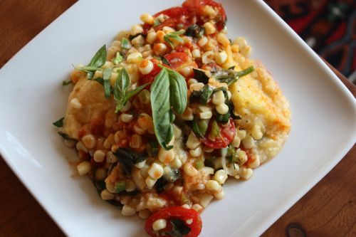 Polenta Baked with Corn, Tomatoes and Basil