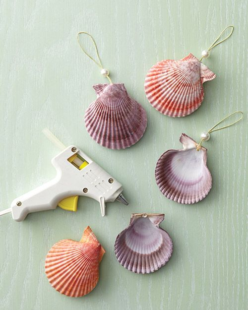 Sea shell ornaments shell crafts pinterest for Seashell ornaments craft