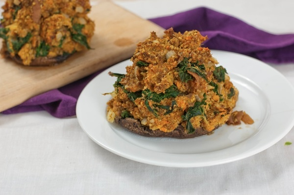 Curried Sweet Potato and Quinoa Stuffed Mushrooms. Pinned for the ...