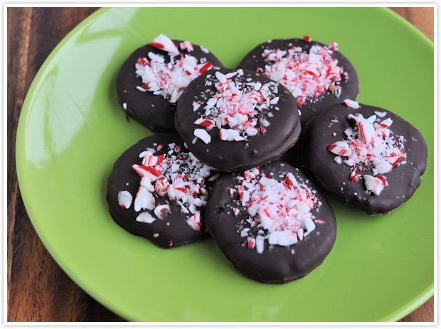 Dark chocolate covered peppermint cream topped with crushed candy ...