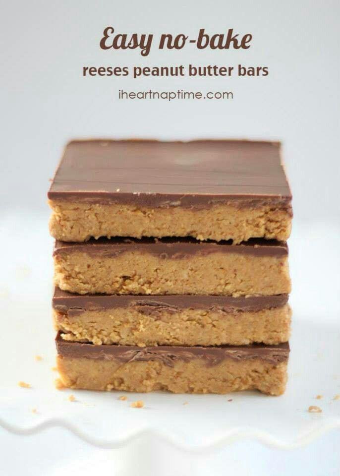 Easy no bake reese 39 s peanut butter bars desserts pinterest for Easy peanut butter dessert recipes