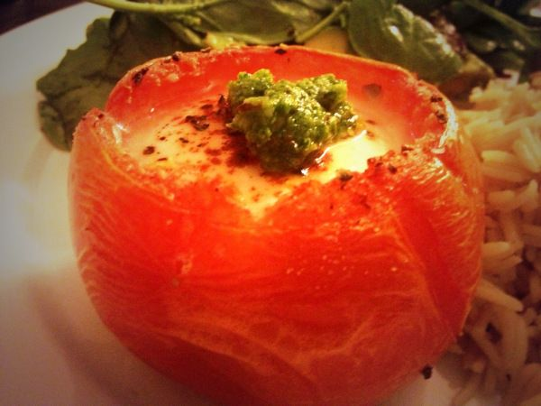 Baked Tomatoes Stuffed With Eggs And Homemade Pesto Recipe