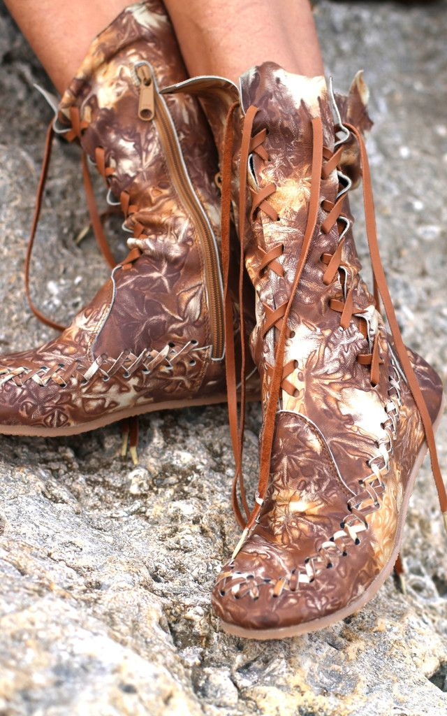 Tan galaxy leather ankle moccasin lace up boots gypsy dharma