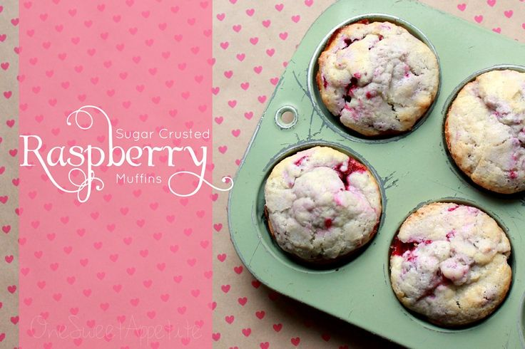 Sugar crusted raspberry muffins. Perfect for Valentines day.