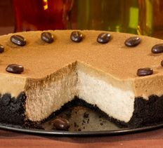 Cappuccino Cheesecake with chocolate covered coffee beans on top. Oh ...