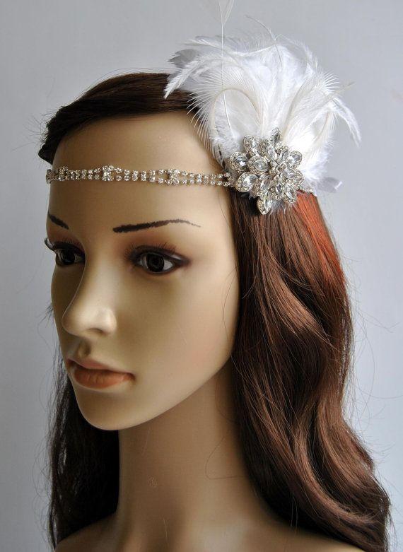 1920s rhinestone head piece bridal ivory champagne feather fascinator 1920s headpiece bridal. Black Bedroom Furniture Sets. Home Design Ideas