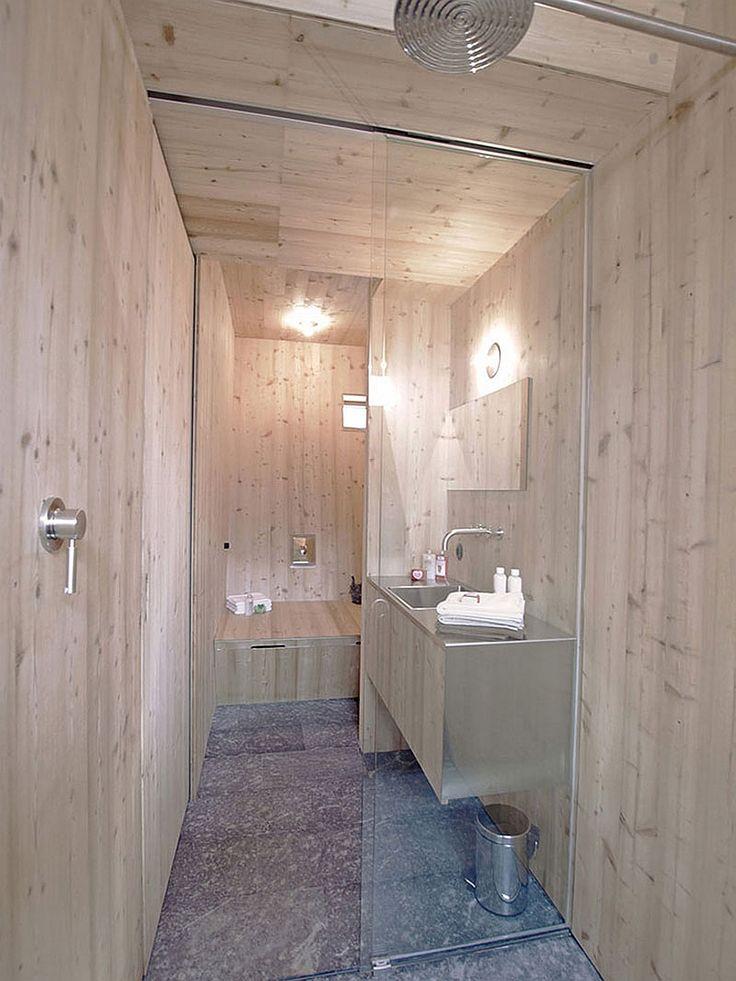 Exclusive Wooden Cabin in Unique Design: Small Wood Bathroom Of ...