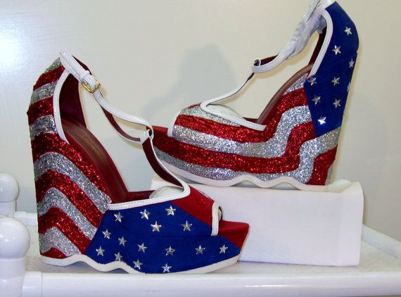 Women Custom Made STARS And STRIPES AMERICAN Flag Wedge Sandals All