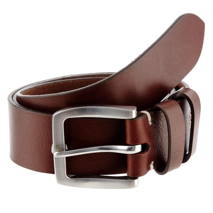 brown curved buckle leather belt