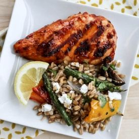 BBQ Chicken and Grilled Vegetable Farro Salad
