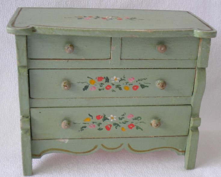 Tynietoy Vintage miniature painted furniture Empire Chest & Sleigh bed