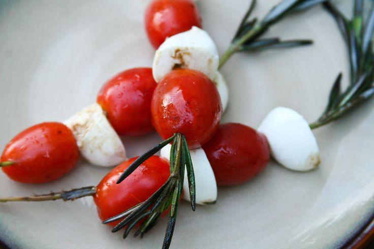 Grape Tomatoes & Mozzarella on Rosemary Skewers | Recipe