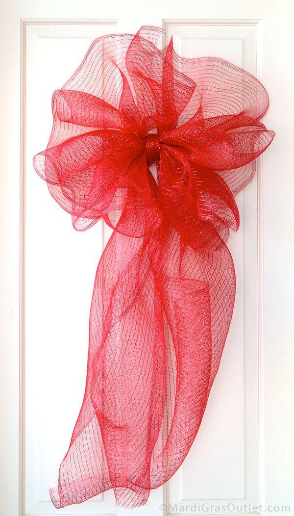 Deco Mesh, Bow, Bow Making, Poly Deco Mesh, Tutorial, DIY, Holiday Bow, Wreath