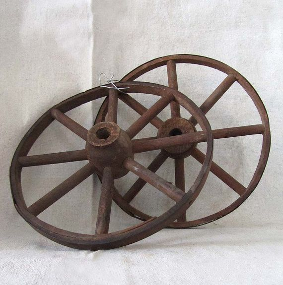 Small Vintage Wooden Carriage Wheels