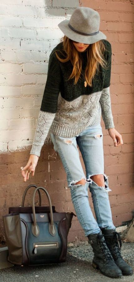 jeans sweater with long boots and hand bag