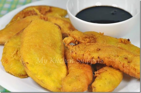 Crispy Banana and Sweet Potato Fritters with Spicy Soy Dipping Sauce