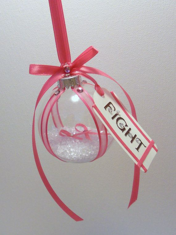 Breast cancer christmas tree ornament