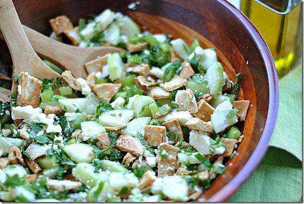 Pita Bread Salad w/ Mint and Feta | Yummy | Pinterest