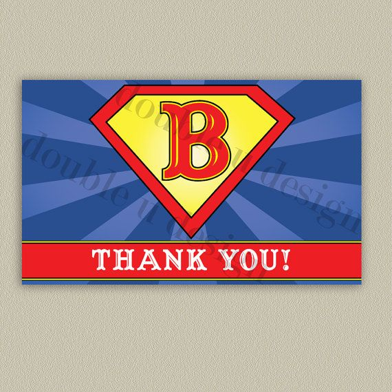 Superman Printable Thank You Note with Color by doubleudesign, $14.00