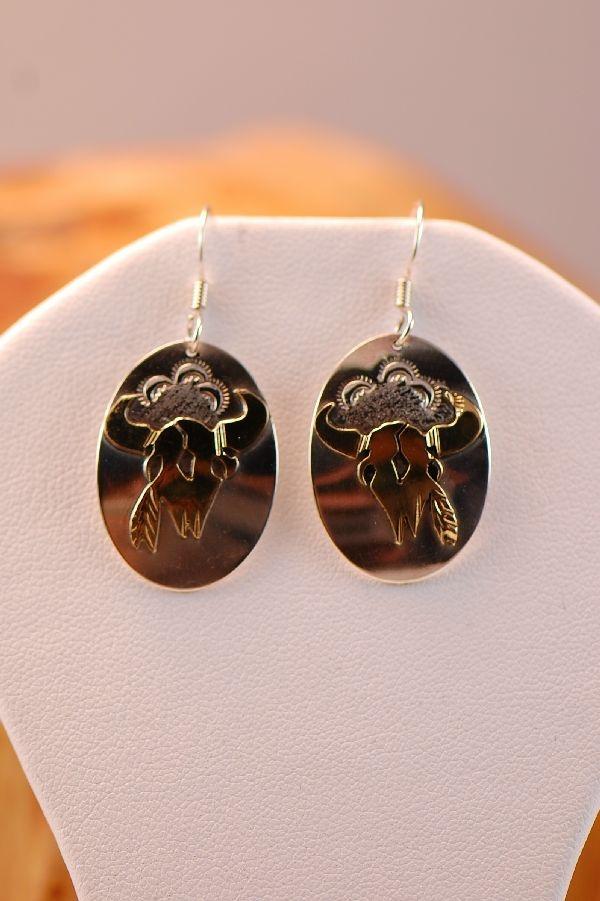 Buffalo Skull Earrings by Roger Jones | Navajo Buffalo Skull Earrings ...