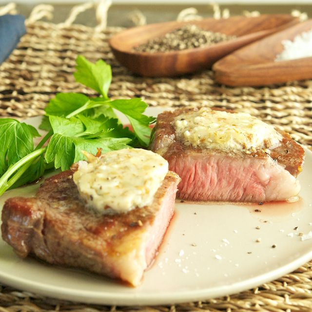 Steaks With Blue Cheese Butter Recipe — Dishmaps