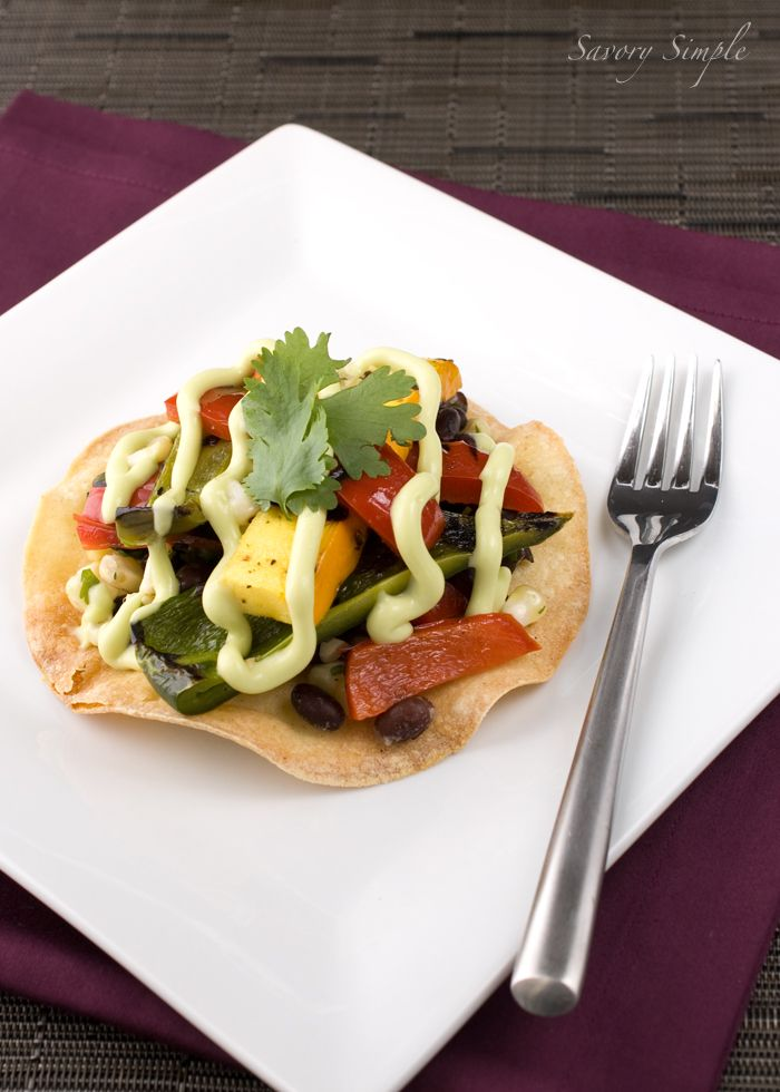 Grilled Vegetable and Black Bean Tostada with Avocado Cream