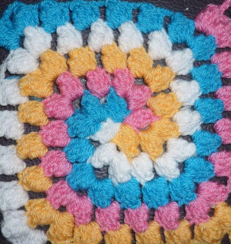 VKNC353 Crochet Granny Square bobble spiral Crochet Pattern instructi ...