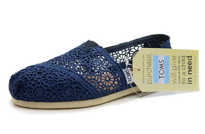 Toms Womens Crochet Shoes Navy Blue Toms065