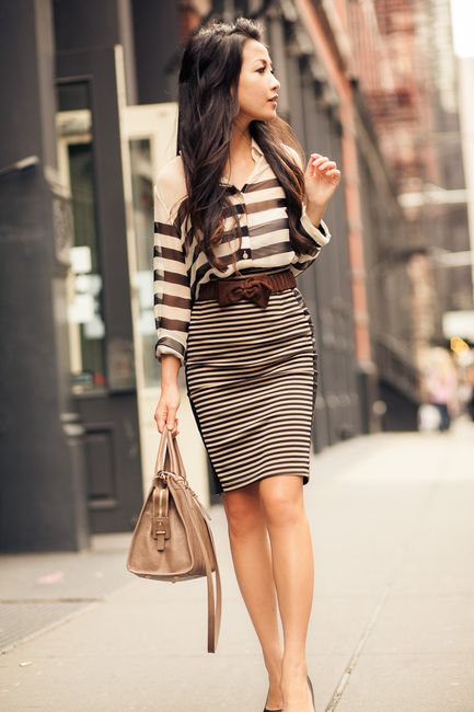 tailored stripes & suede bow