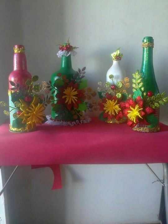 Botellas de refresco decoradas con foami imagui - Botellas de vino decoradas para navidad ...