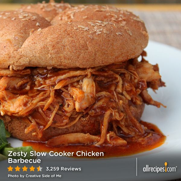 Zesty Slow Cooker Chicken Barbecue | The math adds up: 1 chicken ...