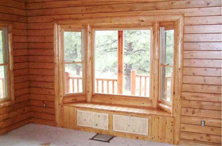 Log cabin bay window home design pinterest for Log cabin window