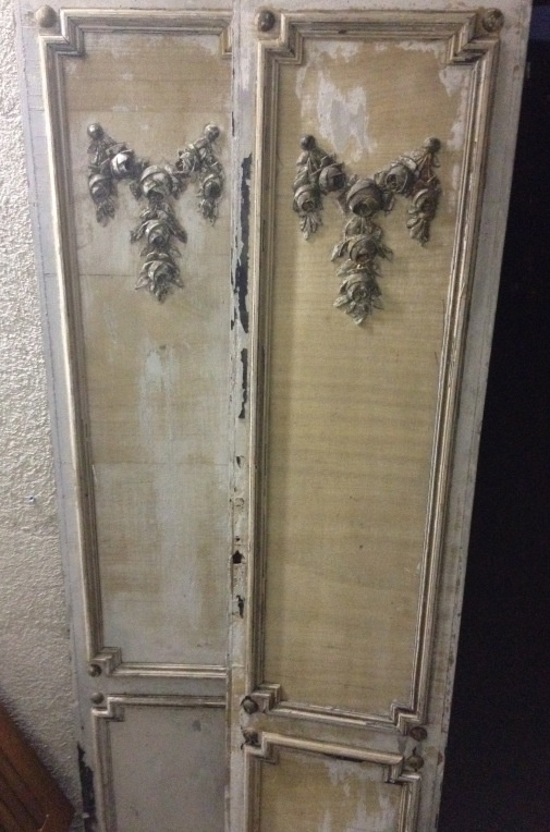 Vintage French shutters--these will become the base for the pantry doors in the kitchen reno   FleaingFrance