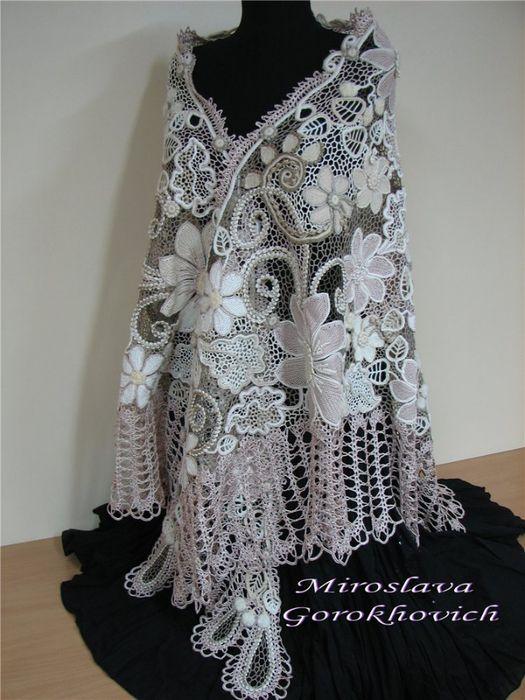 Irish Crochet Lace Shawl Pattern : Lovely Shawl Irish Lace Pinterest