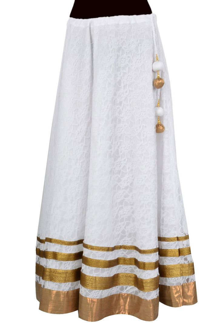 This Stylish white long skirts looks good when paired with your favorite kurtis, tops, shirts and t shirts. it comes with art silk lining fabric, look beautiful on any occasion and comfortable for any season. this skirt is ideal gift on any occasion.
