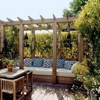 Pergola With Seat Garden Landscaping Pinterest