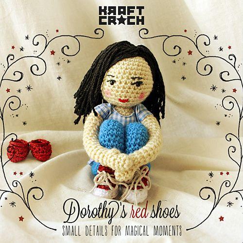 sin patron kraftcroch: ❤ Dorothy's Red Shoes Amigurumi