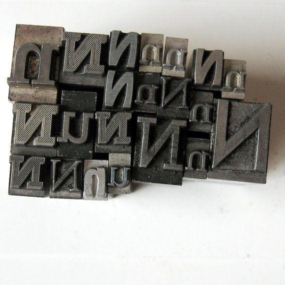 Letter N Vintage 50s Mix Metal Letterpress