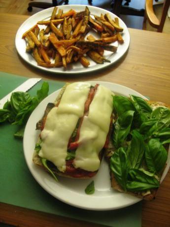 Fral's caprese sandwich on grilled ciabatta. Includes garlic, eggplant ...