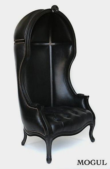 Mogul Black Unique Leather Canopy Chair BLACK