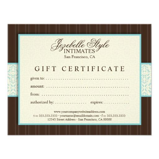 Modern Classic Damask Gift Certificate Personalized Invites