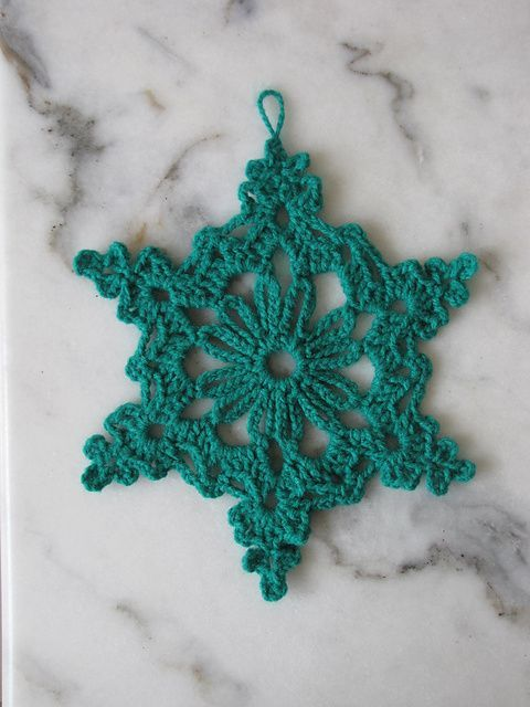 Free Crochet Pattern Snowflakes Ornament : Chain Loop Snowflake; FREE pattern. knitting and crochet ...