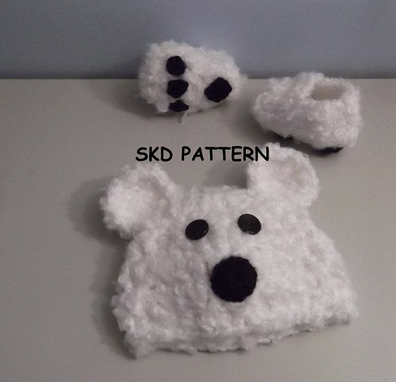 Free Bear Claw Crochet Pattern : Cuddly Soft Polar Bear Hat and Paw Print Booties Crochet ...