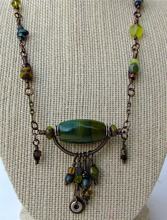 wire wrapped necklace with bohemian influenced by magpiesTrinket, $40.00