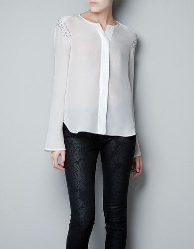 Zara White Studded Blouse 27