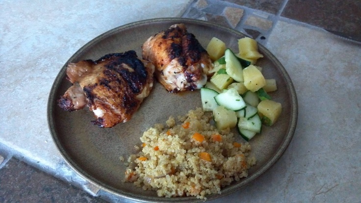 chili-lime grilled chicken thighs with pineapple cucumber salad ...