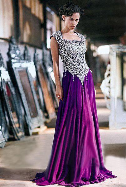 Elegant Silver Purple Long Dress